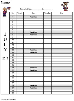 July 2018 Sign In Sheet