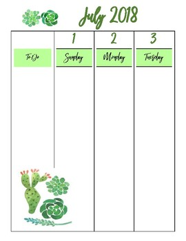 Weekly Planner- July 2018