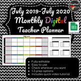 July 2019-July 2020 Monthly Digital Teacher Planner w/ Google sheets