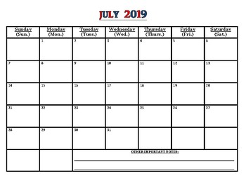 """July 2019 calendar WITH LINES, WITHOUT LINES & """"Extra Notes"""" pgs! (PDF files)"""