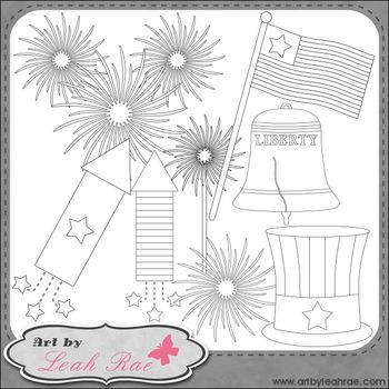July 4 Celebration 1 - Art by Leah Rae Clip Art & Line Art / Digital Stamps