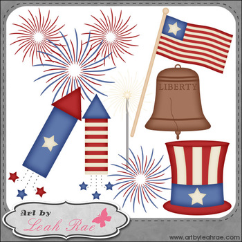 July 4 Celebration 1 - Art by Leah Rae Clip Art & Line Art