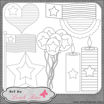 July 4 Decor 1 - Art by Leah Rae Clip Art & Line Art / Digital Stamps