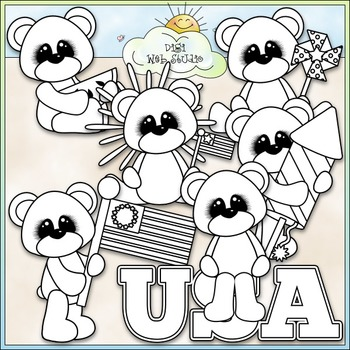 July 4 Patriotic Bears Clip Art - July 4 Clip Art - Patriotic -CU Clip Art & B&W