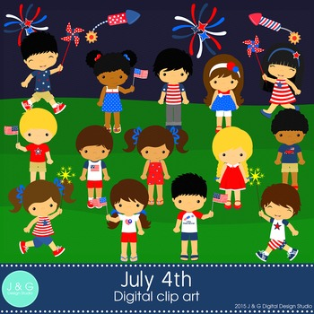 July 4TH Digital Clipart, clip art