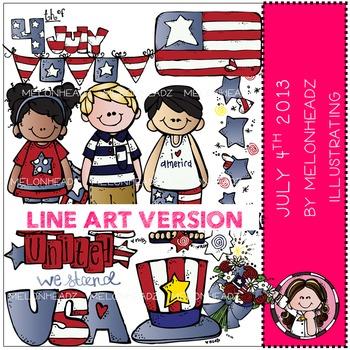 July 4th clip art - 2013 - LINE ART- by Melonheadz