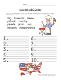 July 4th ABC Order Worksheet