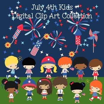 July 4th All American  Kids, Children  Digital Clipart
