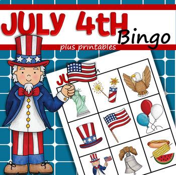 July 4th Bingo Plus Printable Activities for Preschool
