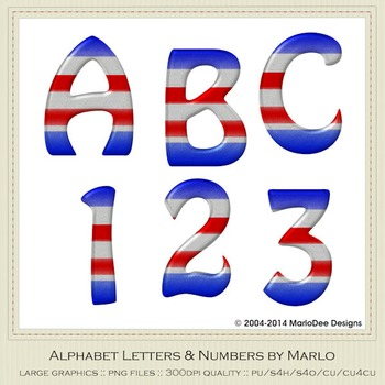 July 4th Colors Hobo Style Alpha & Number Graphics 2