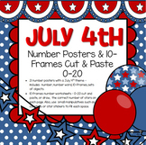 July 4th Numbers Posters and 10-Frames Cut and Paste 0-20