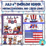 July 4th Emergent Reader, Writing, Tic-Tac-Toe, and Memory