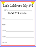 July 4th Five Senses Printable