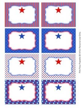 July 4th ( Fourth ) Patriotic Bin Tag Labels
