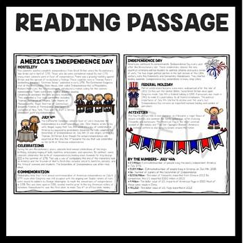 July 4th, Independence Day Reading Comprehension Worksheet, Revolutionary War