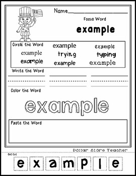 July 4th Kid - Editable Word Worksheet w/ Theme Focus