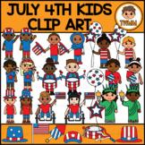 July 4th Kids - USA Independence Day l Seasonal Clip Art l TWMM