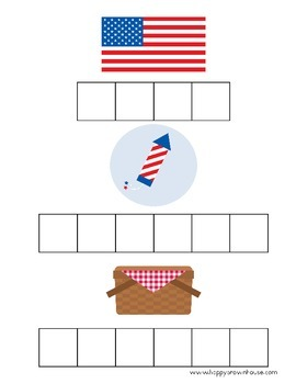July 4th Letter Tiles Spelling Mat