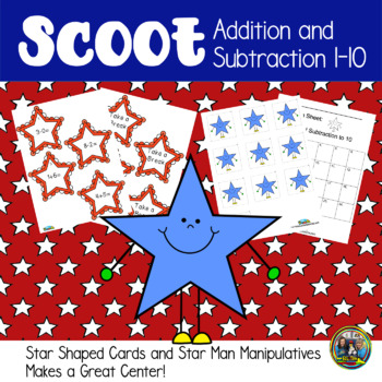 4th of July Math Scoot Game for Addition and Subtraction 1-10