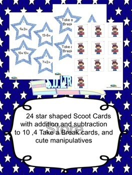 Fourth of July Math Scoot Game for Addition and Subtraction 11-20