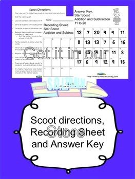 4th of July Activities Math Scoot Game for Addition and Subtraction 11-20