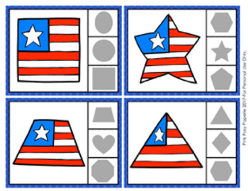 July 4th Patriotic Shapes Clip Cards