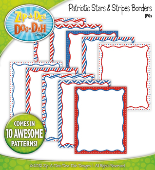July 4th / Patriotic Stars & Stripes Borders — 10 Colorful