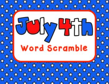 July 4th Word Scramble
