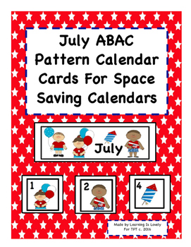July ABAC Patterned Cards with Cute Graphics: Fits Small and Regular Calendars