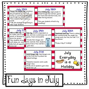 July Activities: Everyday is a Holiday