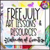 July Artastic Calendar of FREE Art Lessons & Resources