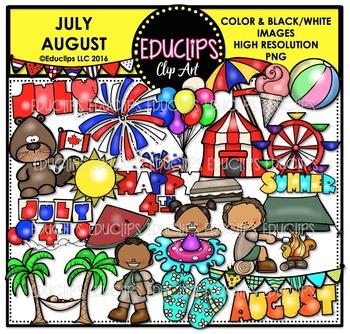 July August Clip Art Bundle  {Educlips Clipart}