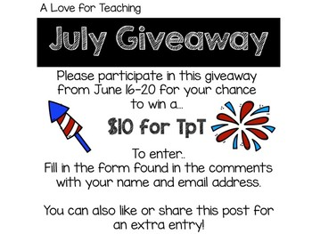 July BTS Sale + Giveaway! by A Love for Teaching | TpT