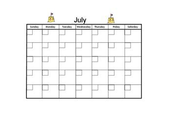 July Blank Calendar