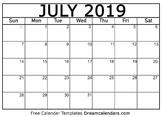 July Calendar 2019 - Printable Template