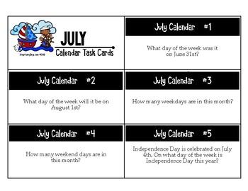 July Calendar Center Task Cards