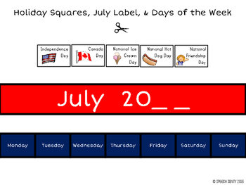 July Calendar Concepts: Following Directions & Answering Wh-Questions