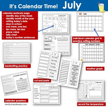 July Calendar Keepers - Calendar Math and Activities