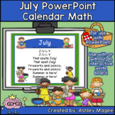July Calendar Math - in PowerPoint - use with or without interactive board