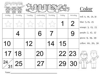 July Calendar Number Writing Practice