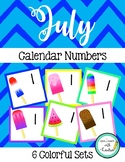 July Calendar Numbers (6 sets) Popsicles