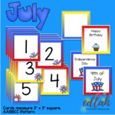 July Calendar Pieces - 4th of July Themed - AABBCC Pattern