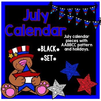July Calendar Pieces - Black Set