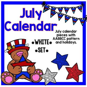 July Calendar Pieces - White Set