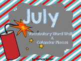 July Calendar Pieces & Word Wall--4th of July, USA, Picnic, BBQ themes