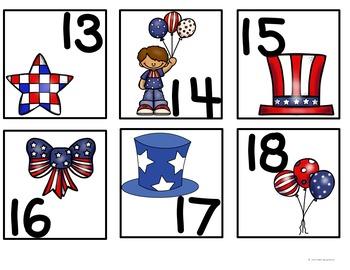 July Calendar Pocket Chart Pieces