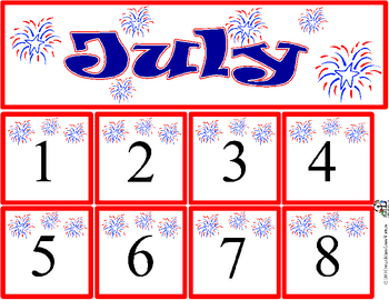 July Calendar Title and Numbers