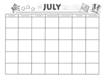 July Calendar and Themed Writing Pages - FREE