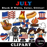 July Clipart - Black & White, Color, Glitter!