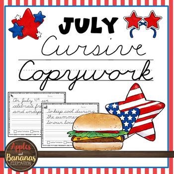July Cursive Copywork Handwriting Practice
